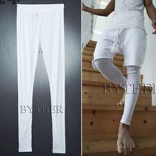 ByTheR Men's Fashion One Size Basic White Corrugated Fabric Inner Leggings Pants
