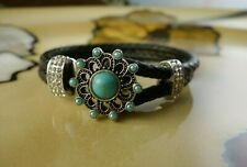 TURQUOISE snap button double braided Black leather gift jewelry bracelet
