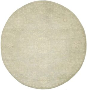 Hand-Knotted Muted Green Floral 6X6 Transitional Oriental Round Rug Decor Carpet