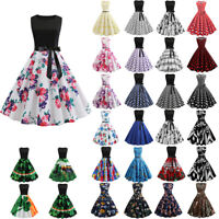 Women's Vintage 1950s 60s Retro Evening Party Swing Ball Gown Rockabilly Dresses