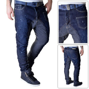 Sixth-June Mens Blue Jeans Jog Pants Stained Look Skinny Tappered Fit L32