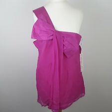 LIPSY LONDON LADIES WOMEN'S PINK SILK ONE SHOULDER FEATURE BOW TOP SIZE UK 14