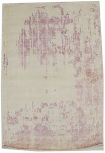 Hand-Loomed Modern Rug Distressed 4X6 Cream Floral Design Contemporary Carpet