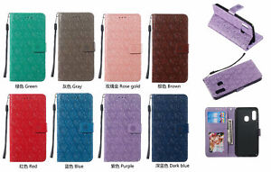 Embossing Rattan Flower Flip Leather Card Wallet Phone Case Cover For Samsung