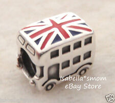 NEW 100% Authentic 925 Silver PANDORA LONDON BUS Enamel FLAG Charm~Bead 791049ER