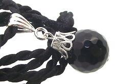 16mm Faceted Black Agate Gemstone Crystal Sphere Pendant