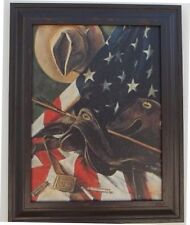 "FRAMED PRINT AMERICAN FLAG COWYBOY HAT AND WESTERN SADDLE 15 1/2"" X 19 1/2"""