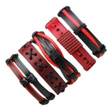 5PCS Unisex Leather Wrap Braided Wristband Cuff Punk Men Bracelet Bangle Gifts