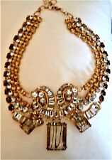 Wow!  Spectacular Statement  Gold Tone Bib Necklace 4 Strand Amber Smokey Clear