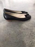 Steve Madden Peep Toe Black Leather Sandals Shoes Wedges 7.5 M