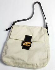 Fendi Zucca Canvas One Shoulder Hand Bag Tote Purse Beige Italy