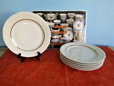 6 Platos Llanos en Porcelana de Limoges Blanco y Oro De Kelly (Lote B)