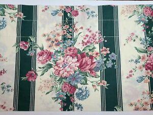 Croscill Discontinued Vintage Granada Valance Green Stripe & Pink Floral