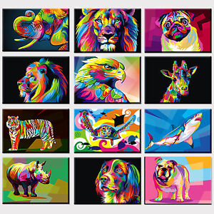ANIMALS CANVAS PRINT PICTURE WALL ART COLOURFUL COLLECTION  FREE FAST DELIVERY