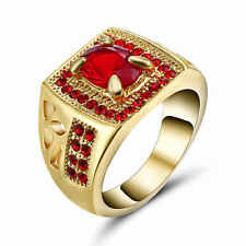 Fashion Size 7 Red Ruby18K Yellow Gold Filled Womens Simple Wedding Rings Gift