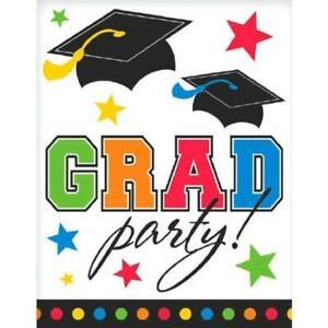 Grad Caps Congrats School College Graduation Party Invitations w/Envelopes