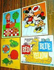 4 Vintage 1970s Playskool Child Wood Frame Tray Puzzle Puzzles Disney Sesame GUC