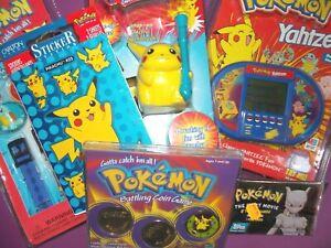 vtg 1990s 1999 Pokemon Pikachu Toothbrush watch yahtzee video game coins cards~~