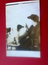 Rppc Lady Talks To Dog Sitting On Chair Bizarre Real Photo Postcard