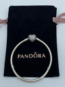 Genuine Pandora Moments Sparkling Heart Pavé Clasp Snake Chain Bracelet S925