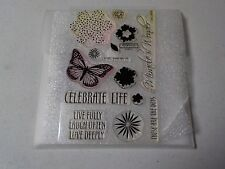 CTMH C1287 CELEBRATE LIFE BUTTERFLY FLOWERS MY ACRYLIX CLEAR STAMPS EUC A4562