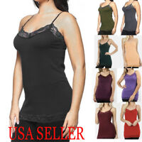 PLUS Women Basic Adjustable Long Tank Top Camisole LACE Trim Strip Layering