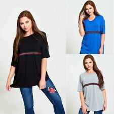Womens Ladies  Plus Size Stripe Red Green Print Short Sleeve Top Casual T-Shirt