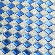 Glass Mirror Tile Blue Backsplash Kitchen Silver Diamond Mosaic Bathroom(11PCS)