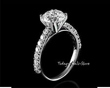 Engagement Ring 2.40 CT Round Cut Solid 14k White Real Gold Anniversary Wedding
