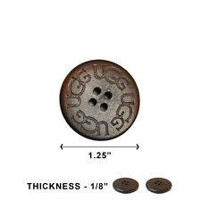 1 One New UGG Replacement Wooden Button For Adult Size Uggs 30mm - Dark Brown
