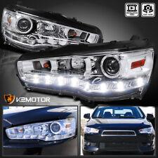 08-15 Mitsubishi EVO X 10 R8 LED DRL Projector Chrome Headlights Clear