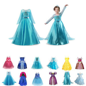 Kinder Prinzessin Kleid Kostüm Aurora Elsa Belle Cinderella Cosplay Mädchen DE
