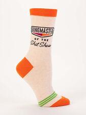Women's Crew Socks, Ringmaster of the Shit Show, Blue Q Cotton Funny Novelty