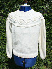 New size 14 to16 hand knitted cream aran jumper patterned yoke wool acrylic mix