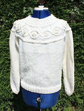New size 14 to16 hand knitted cream aran jumper patterned yoke wool acrylic mix