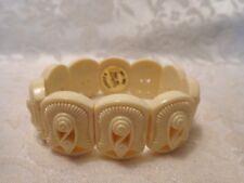 Vintage AVON Plastic Cream Tone Plastic Stretch Bracelet - Made in Hong Kong