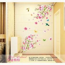 DIY Peach Blossom Vine Flower Bird Removable Wall Sticker Living Room Decor Art