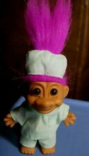 "4 1/2"" Russ Troll Doll Green 2-Piece Surgical Scrubs & Cap, Pink Hair"
