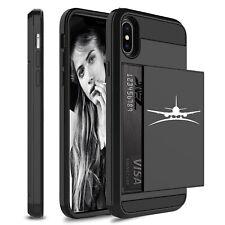 For Apple iPhone Shockproof Wallet Credit Card Holder Hard Case Airplane
