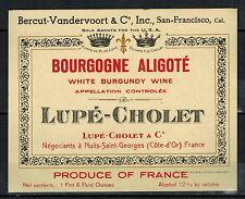 Etiquette de Vin -Bourgogne Aligoté- White Burgondy Wine -Lupé-Cholet - Réf.n°70