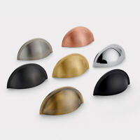 Solid Brass Gold, Copper, Silver, Chrome, Gunmetal Grey&Black Drawer Cup Handle