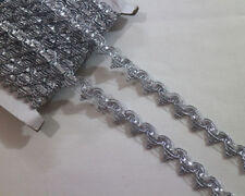 LOT 14 Yards Metallic Venise Silver Lace Trim For Sewing/Craft Wide 1.8 CM
