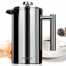 SECURA STAINLESS STEEL FRENCH PRESS COFFEE MAKER 18/10 1000ML W/ FILTER SCREEN