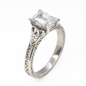 Engagement Ring Trinity Knot Emerald Cut Diamond 4 Claw Silver Hallmarked