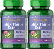 2x Puritan's Pride Milk Thistle (Silymarin) Extract 1000 mg (180 Softgels)