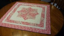 """Pink/White Table topper, Machine Quilted, 27-1/2"""" square"""