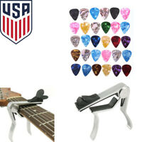 Quick Release Acoustic Electric Guitar Capo Trigger w/ Pick Holder and 30 Picks