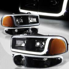 For 2001-2006 GMC Yukon 1500 Denali DRL LED Black Amber Headlights+Bumper 4PCS