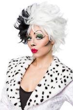 de dálmatas Peluca Cruella blanco y negro, pelo corto mujer P. para traje