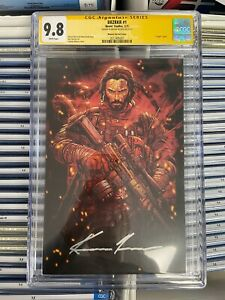 BRZRKR #1 NM/MT 9.8 CGC 1:1000 VARIANT SIGNED by KEANU REEVES Boom IN HAND!!!
